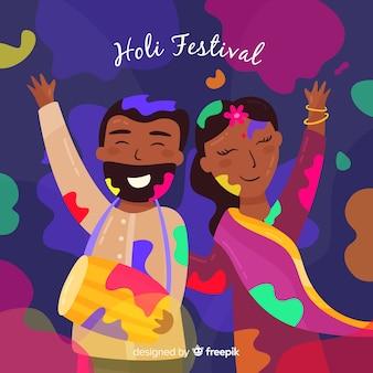 カラフルなカップルホーリー祭の背景