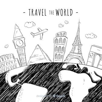Ручной обращается фон путешествия