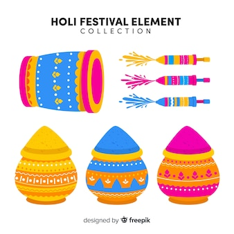 カラフルなホーリー祭要素セット