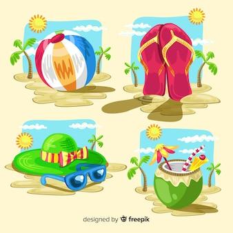 水彩旅行要素コレクション