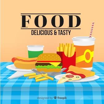 Плоская еда фон