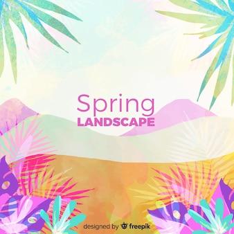 熱帯のシルエットの春の背景