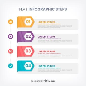 Плоские инфографические шаги