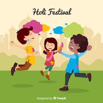 ホーリー祭の背景で子供たち