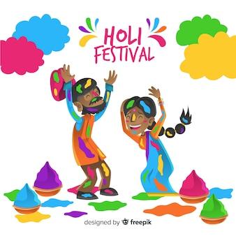汚いカップルホーリー祭の背景