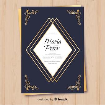 黄金の装飾品結婚式招待状のテンプレート