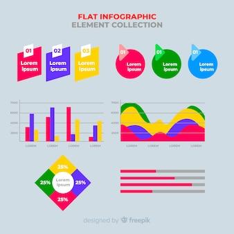 平らなインフォグラフィック要素