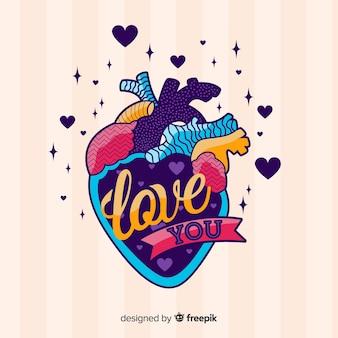 愛のメッセージと傷のカラフルなイラスト