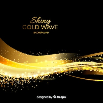 Блестящий золотой фон волны
