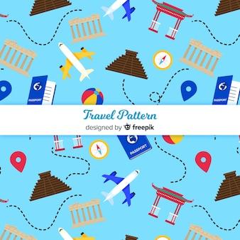 Шаблон путешествия с элементами и штриховыми линиями