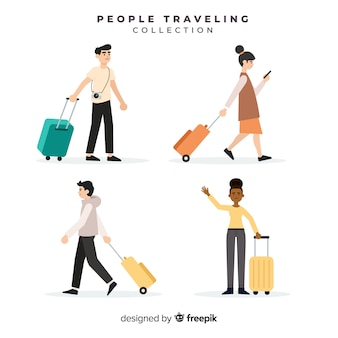 スーツケースコレクションと一緒に旅行する人