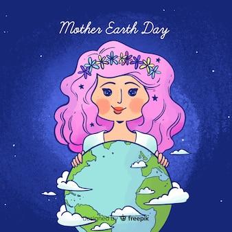 水彩母地球日の背景