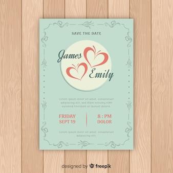 心の結婚式の招待状のテンプレート