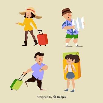 さまざまなポジションのコレクションで旅行する人々
