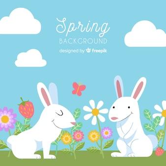 手描きのウサギの春の背景