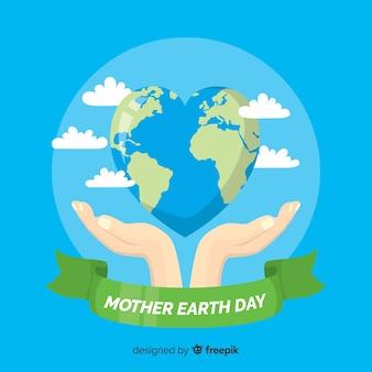 平らな母なる地球の日の背景