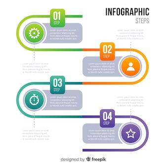 グラデーションインフォグラフィックステップ