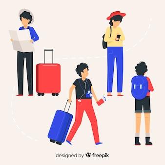 Люди, путешествующие коллекция