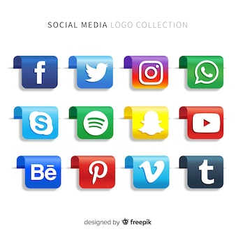 グラデーションソーシャルメディアロゴパック