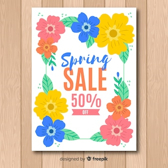 Нарисованный рукой плакат продажи весны