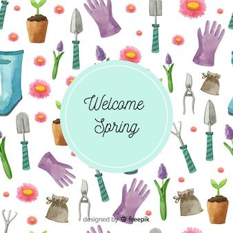 水彩の園芸要素春の背景