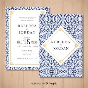 印刷された結婚式の招待状のテンプレート