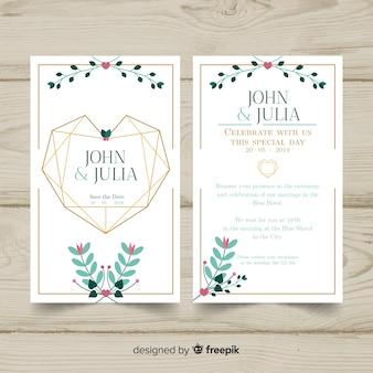 幾何学的な心の結婚式の招待状のテンプレート