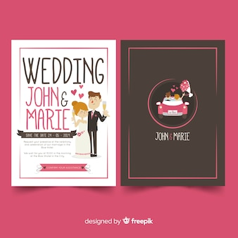 手描きカップル結婚式招待状のテンプレート