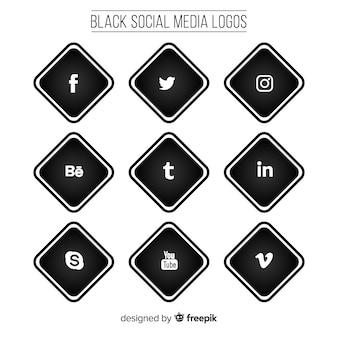 Черный набор логотипов для социальных сетей