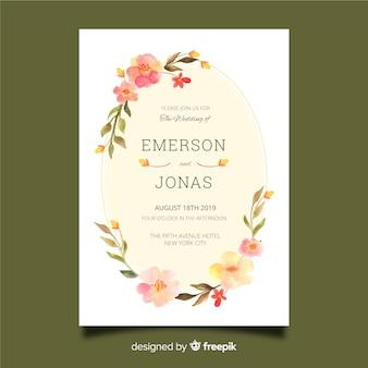 水彩花のフレームの結婚式の招待状のテンプレート