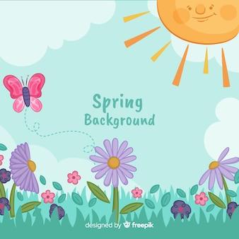 太陽の春の背景を笑顔