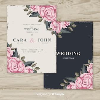 花のビンテージのウェディング招待状のテンプレート