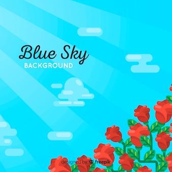 平らな青い空を背景