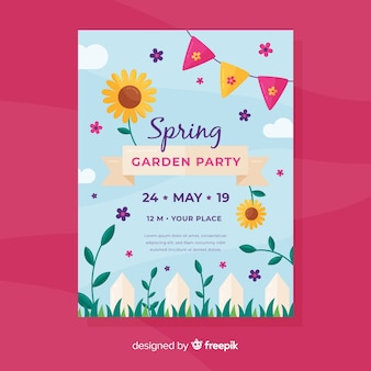 春の庭の招待状パーティーのチラシ