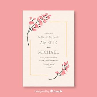 フラットなデザインのピンクの結婚式の招待状のテンプレート