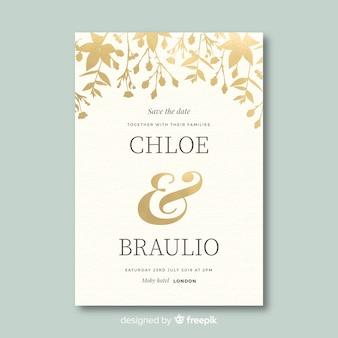 フラットなデザインの美しい結婚式の招待状のテンプレート