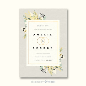 Красивый шаблон свадебного приглашения в плоском дизайне