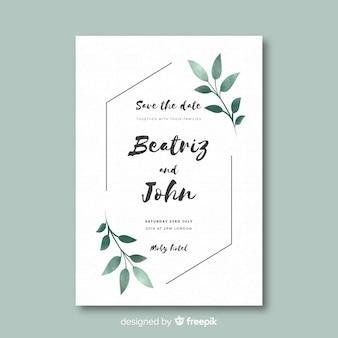 Шаблон свадебного приглашения в плоском дизайне