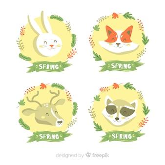 Набор весенних ярлыков животных
