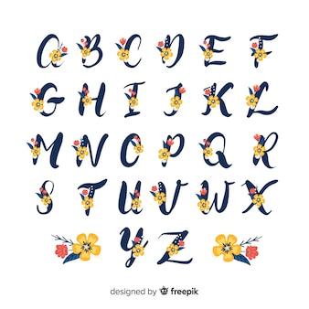 Плоский цветочный алфавит