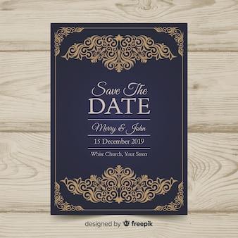 ビンテージのウェディング招待状のテンプレート
