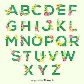 平らな花のアルファベット