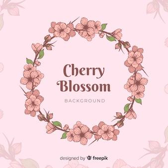 手描き桜の花輪の背景