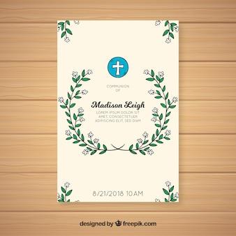 手描きの最初の聖体拝領の招待状