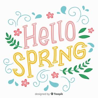 こんにちは春をレタリング