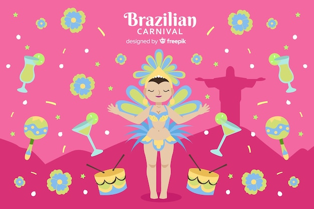 Бразильский карнавал танцор фон