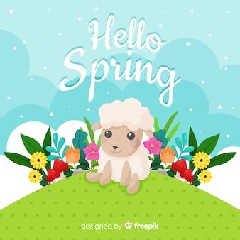 平らなこんにちは春の背景
