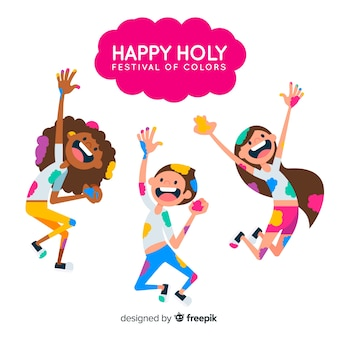 Рисованной люди празднуют праздник холи
