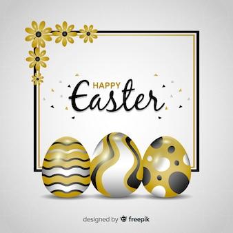 リアルな黄金の卵のイースターの日の背景