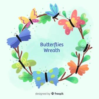 カラフルな蝶の花輪